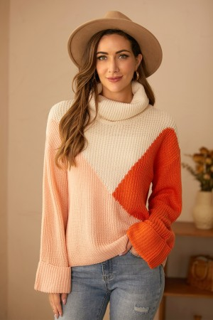 Loose Casual Long Sleeves High Neck Contrast Color Lapel Pullover Sweater