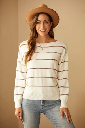 Striped Long-Sleeved Pullover Core-Spun Sweater