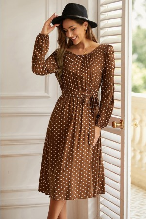 Brown Casual Round Neck Long Sleeves Dots Tie Waist Midi Dress