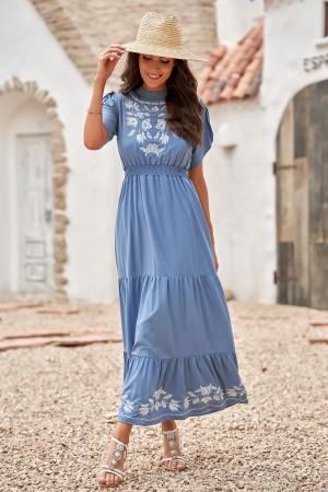Blue Floral High Neck Puff Sleeves Elastic Waist Tiered Maxi Dress