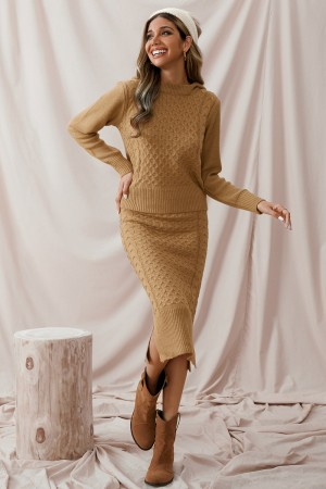 Two Pieces Hooded Long Sleeve Warm Autumn Winter Midi Sweater Dress