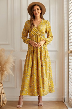 Yellow Floral Casual V-neck Long Sleeve Maxi Dress