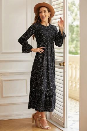 Black Round Neck Ruffle Long Sleeve Polka Dots Maxi Dress