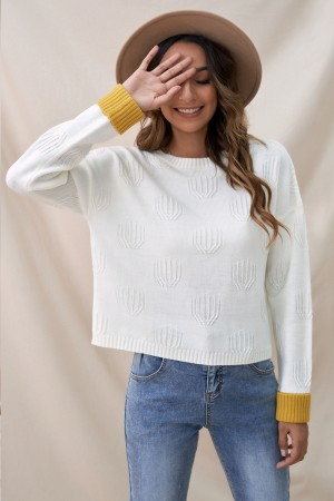 White High Neck Long Sleeves Knit Sweet Autumn Sweater