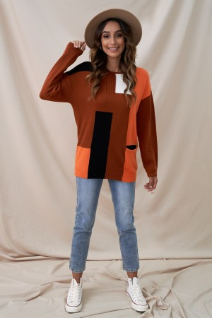 Multicolor Blocked Knit Cute Sweater With Pocket