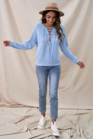 Blue Lace Up Neck Sweet Autumn Winter Hooded Sweater