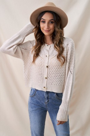 Ivory Buttons Cute Autumn Thin Sweater