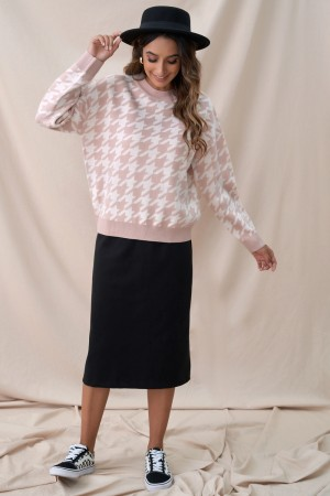 Pink Casual Round Neck Sweet Autumn Winter Sweater