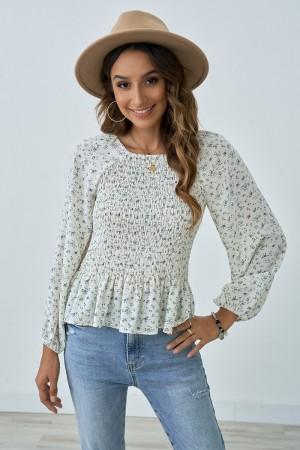 Floral Long Sleeves Square Neck Shirring Ruffle Shirt