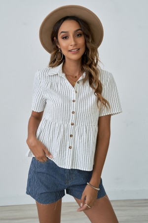 Short Sleeves Collared Neckline Stripe Shirt With Button