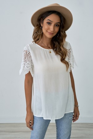 Round Neck And Hollow Short Sleeve Round Top