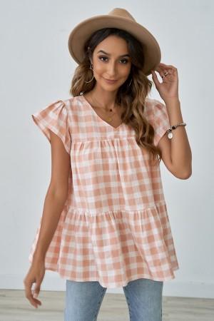 Pink Plaid Short Ruffle Sleeves V-Neckline Shirt