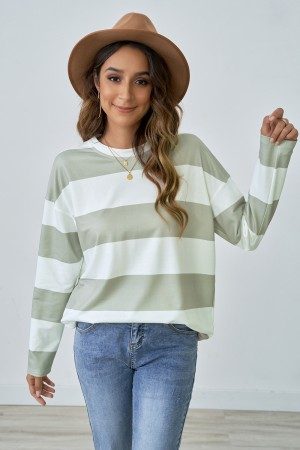 Green and White Casual Wide Stripe Autumn Blouse