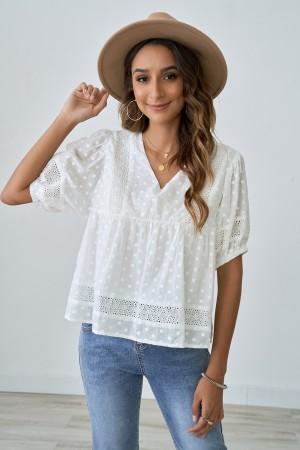 White Cute  Polka Dot Ruffle Shirt