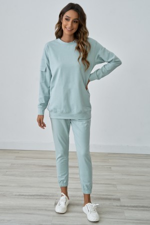 Casual Long Sleeves Round Neckline Cute Home Loungewear Set With Pocket