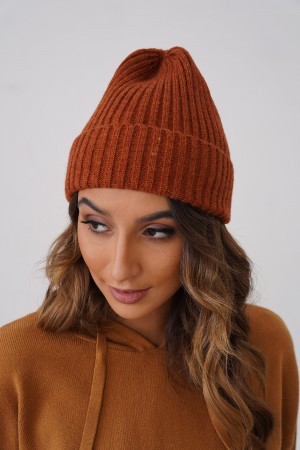 Casual Knit Texture Autumn Winter Beanie in Rust
