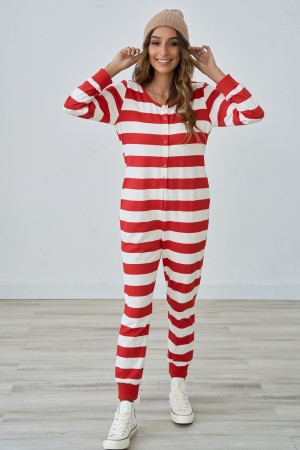 Red Stripe Cute Comfy Buttons Onesie With Pockets