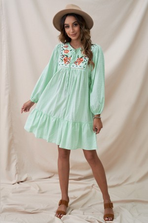 Green Floral Embroidery Ruffle Long Sleeves Lace Neckline Dress