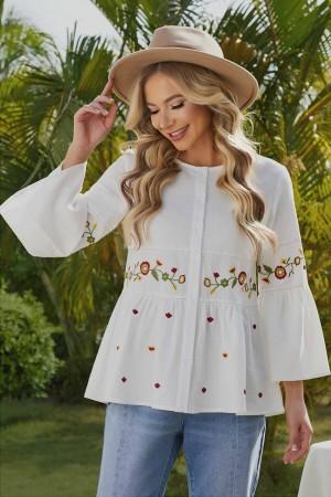 White 3/4 Sleeves Round Neckline Cotton Blouse