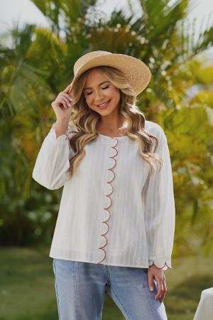 White Long Sleeves Round Neckline Cotton Blouse