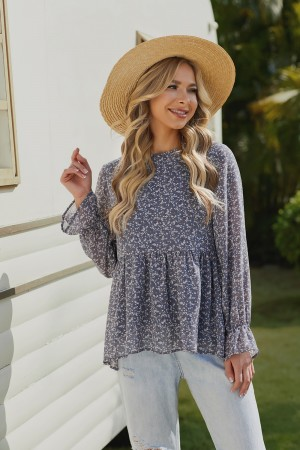 Blue Long Sleeves Round Neckline Polyester Blouse