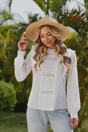 Ivory Long Sleeves High Lace Neckline Cotton Blouse