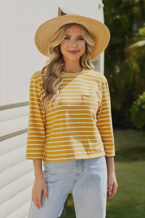 Yellow 3/4 Length Sleeves Round Neckline Cotton Tops