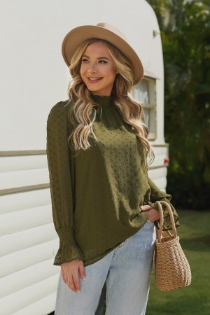 Dark Green Long Sleeves High Neckline Polyester Blouse