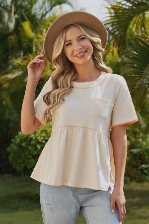 Cream Short Sleeves Round Neckline Cotton Tops