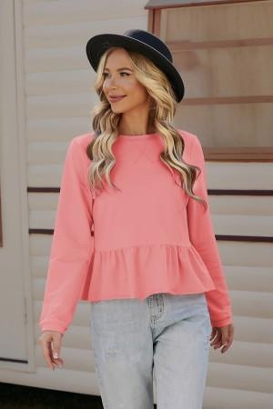 Bright Pink Long Sleeves Round Neckline Cotton Tops