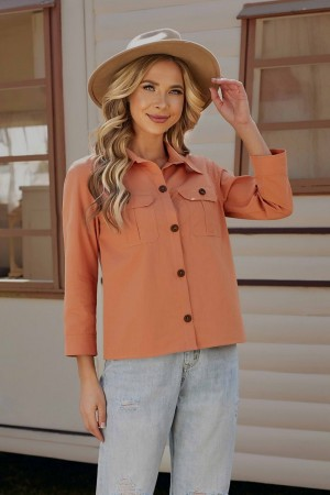 Rust 3/4 Length Sleeves Collared Neckline Cotton Tops