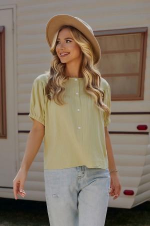 Faded Mustard Short Sleeves Round Neckline Cotton Blouse
