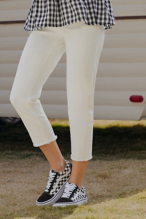 White Classic Button Fly Skinny Ankle Pockets Jeans