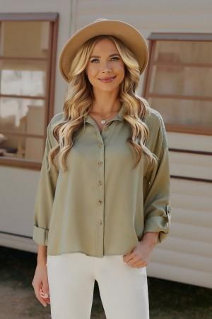 Green Half Sleeves Collared Neckline Polyester Top