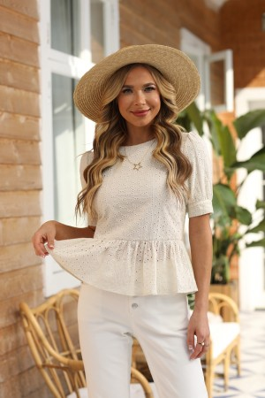 Ivory Above the Elbow Sleeves High Round Neckline Polyester Tops