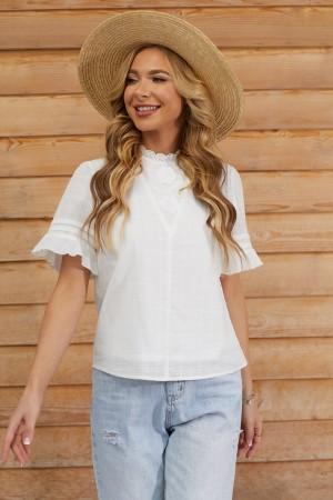 White Layered Ruffle Short Sleeves High Neckline Cotton Blouse