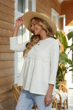 Ivory 3/4 Length Sleeves Round Neckline Cotton Tops