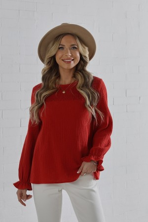Rust Long Sleeves Round Neckline Cotton Blouse