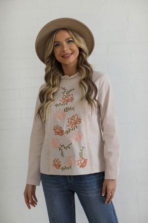 Grey 3/4 Length Sleeves High Neckline Cotton Blouse