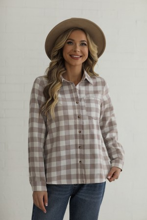 Taupe Long Sleeves Collared Neckline Linen Shirt