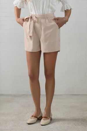 Tan Cambrie Tie Polyester Shorts