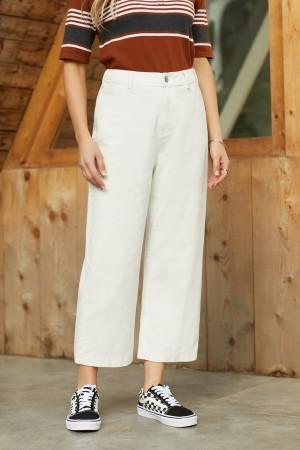Ivory High Rise Cotton Pants