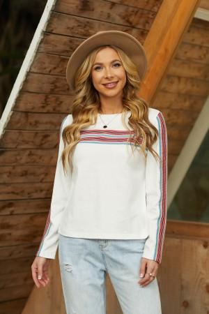 Cream Long Sleeves Round Neckline Cotton Top