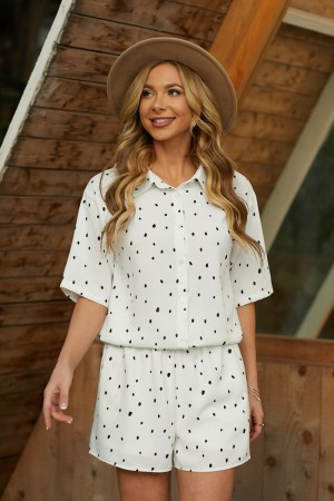 Ivory Short Sleeves Collared Neckline Polyester Blouse