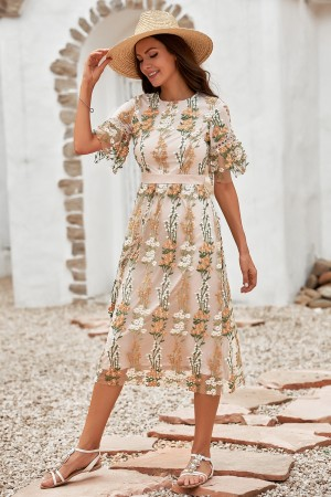 Floral Round Neckline Short Sleeves Embroidery Lined Midi Dress
