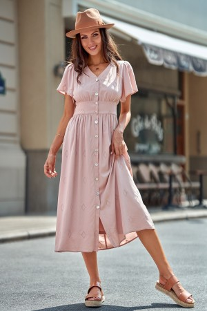 MistyRose Short Sleeve V-neck Rayon Maxi Dress With Buttons
