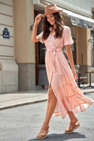 Mauve V-Neckline Short Sleeves Split Maxi Dress