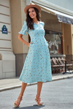 Light Blue Short Sleeve V Neckline Buttons Polyester Midi Dress