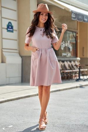 MistyRose Short Sleeve Round Neckline Cotton Midi Dress with Pockets
