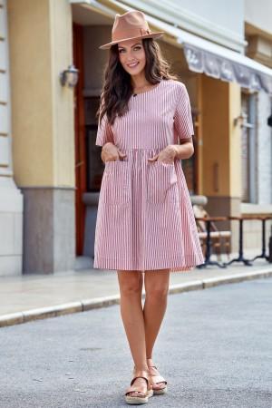 Firebrick Round Neckline Short Sleeve Cotton Midi Dress with Pockets